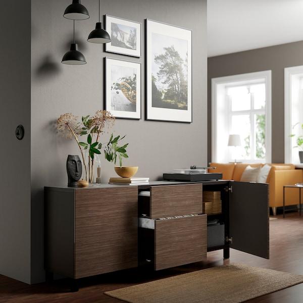 "BESTÅ Storage combination with drawers, black-brown/Selsviken/Stubbarp high-gloss/brown, 70 7/8x16 1/2x29 1/8 """