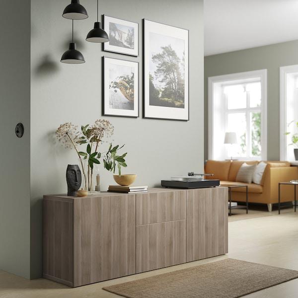 "BESTÅ Storage combination with drawers, walnut effect light gray/Lappviken walnut effect light gray, 70 7/8x16 1/2x25 5/8 """