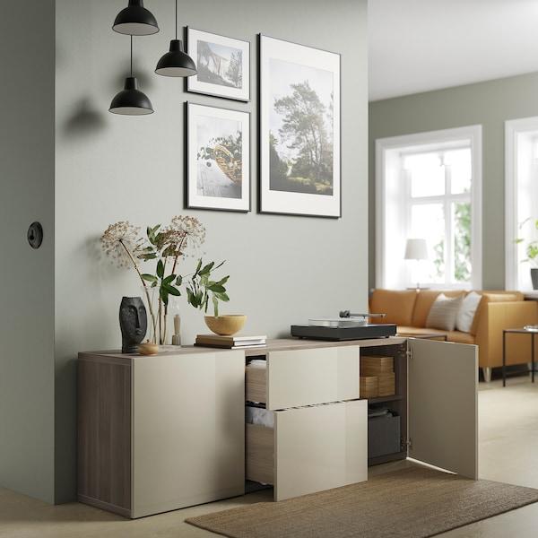 "BESTÅ Storage combination with drawers, walnut effect light gray/Selsviken high-gloss/beige, 70 7/8x16 1/2x25 5/8 """