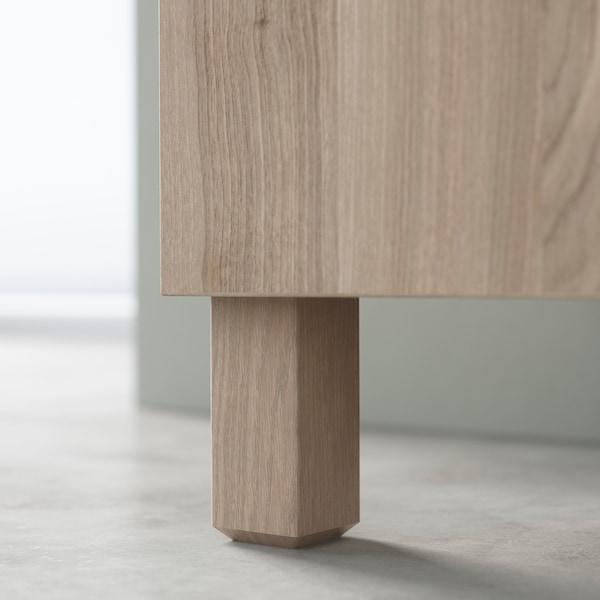 "BESTÅ Storage combination with drawers, walnut effect light gray/Selsviken/Stubbarp high-gloss/beige, 70 7/8x16 1/2x29 1/8 """