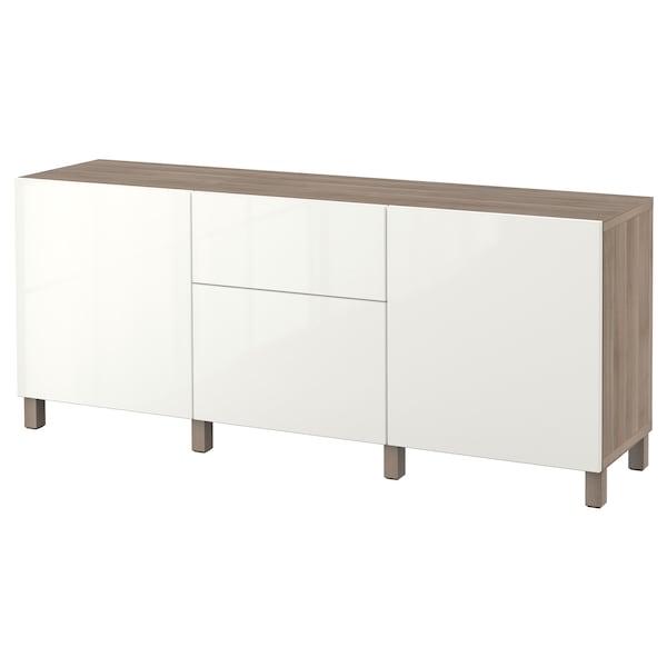 "BESTÅ Storage combination with drawers, walnut effect light gray/Selsviken/Stubbarp high-gloss/white, 70 7/8x16 1/2x29 1/8 """