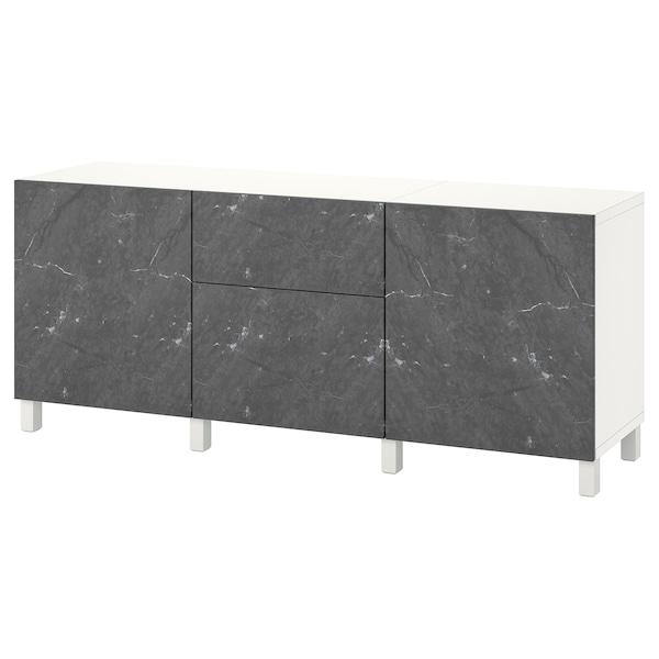 "BESTÅ Storage combination with drawers, white Bergsviken/Stubbarp/black marble effect, 70 7/8x16 1/2x29 1/8 """