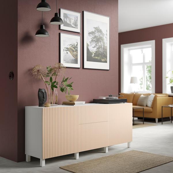 """BESTÅ Storage combination with drawers, white Björköviken/birch veneer, 70 7/8x16 1/2x29 1/8 """""""