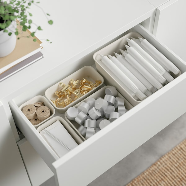 "BESTÅ Storage combination with drawers, white Lappviken/Sindvik white clear glass, 70 7/8x16 1/2x25 5/8 """