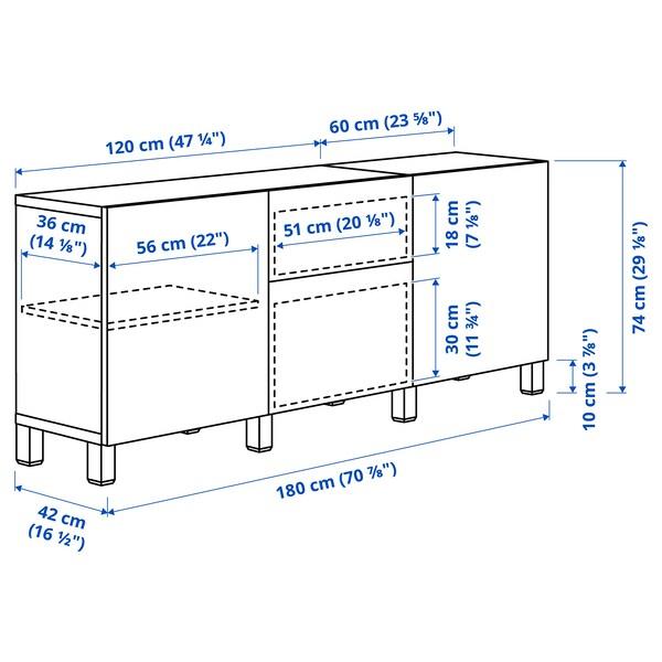 "BESTÅ Storage combination with drawers, white Lappviken/Stubbarp/light gray-brown, 70 7/8x16 1/2x29 1/8 """