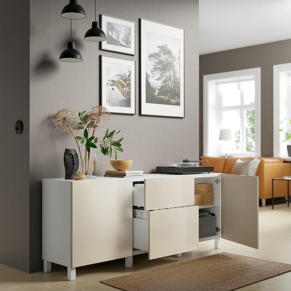 "BESTÅ Storage combination with drawers, white/Selsviken/Stubbarp high-gloss/beige, 70 7/8x16 1/2x29 1/8 """