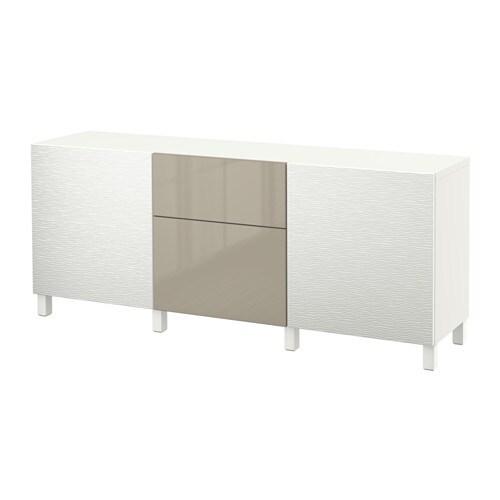 BEST u00c5 Storage combination with drawers   Laxviken white  Selsviken high gloss  beige, drawer