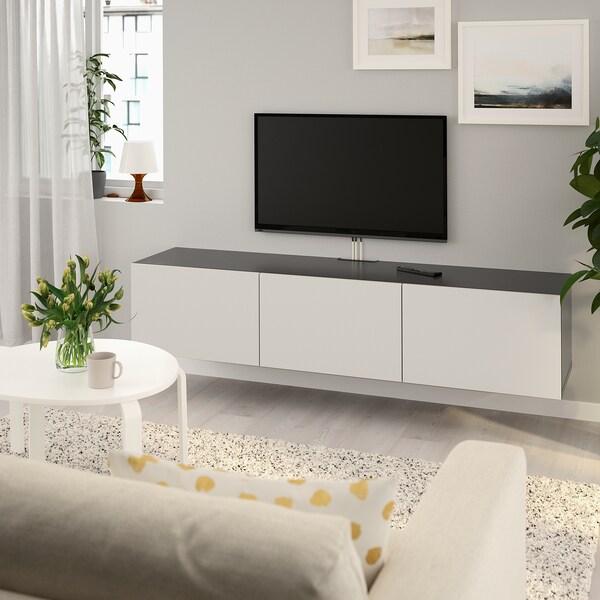 "BESTÅ TV unit with doors black-brown/Lappviken light gray 70 7/8 "" 16 1/2 "" 15 """