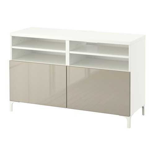 best tv bench with doors 120x40x74 cm white selsviken high gloss beige ikea. Black Bedroom Furniture Sets. Home Design Ideas