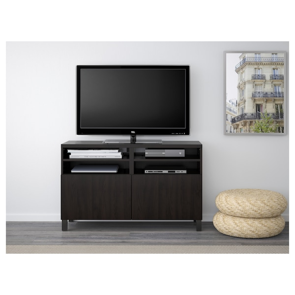 "BESTÅ TV unit with doors black-brown/Lappviken/Stubbarp black-brown 47 1/4 "" 16 1/2 "" 29 1/8 "" 110 lb"