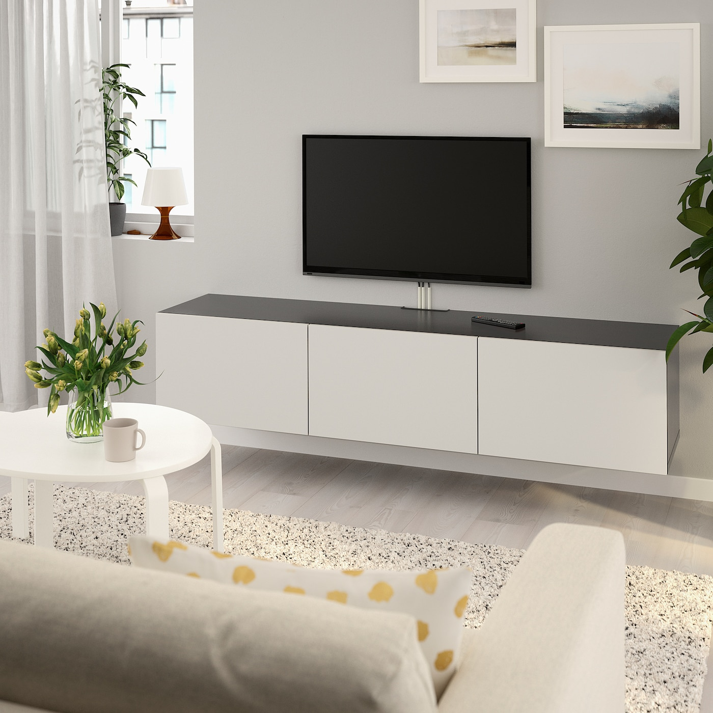 Tv Meubel Ikea.Besta Tv Unit With Doors Black Brown Lappviken Light Gray 70 7