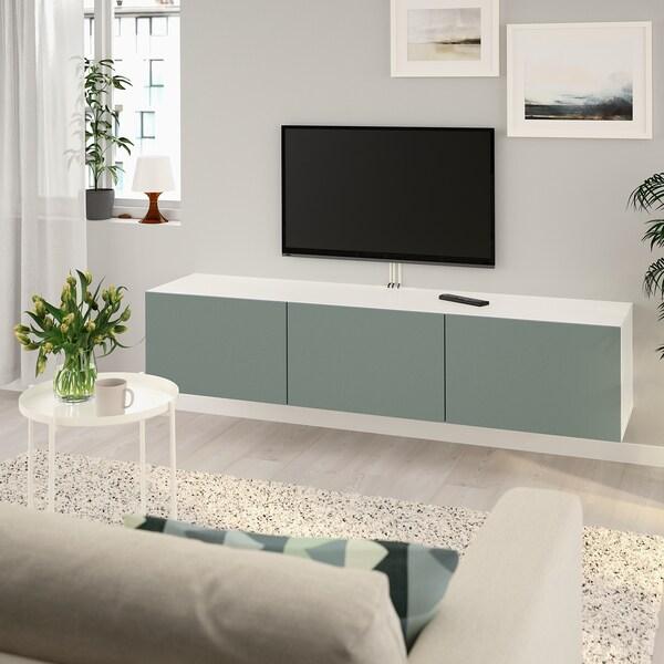 """BESTÅ TV unit with doors white/Notviken gray-green 70 7/8 """" 16 1/2 """" 15 """""""