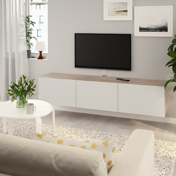 "BESTÅ TV unit with doors walnut effect light gray/Lappviken light gray 70 7/8 "" 16 1/2 "" 15 """