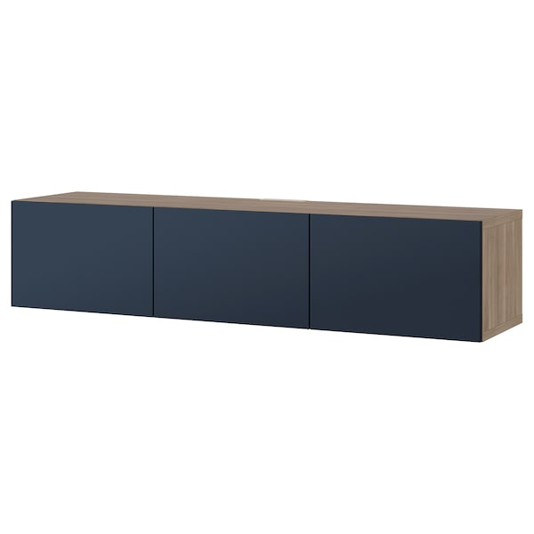 "BESTÅ TV unit with doors walnut effect light gray/Notviken blue 70 7/8 "" 16 1/2 "" 15 """