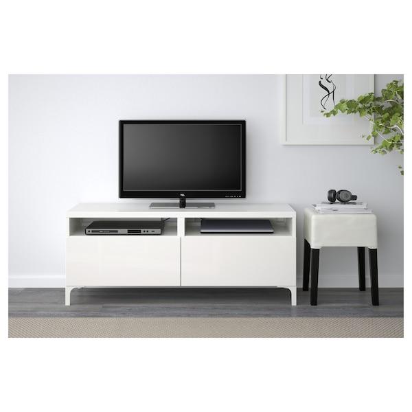 Ikea Tv Meubel.Besta Tv Unit With Drawers White Selsviken High Gloss White Ikea