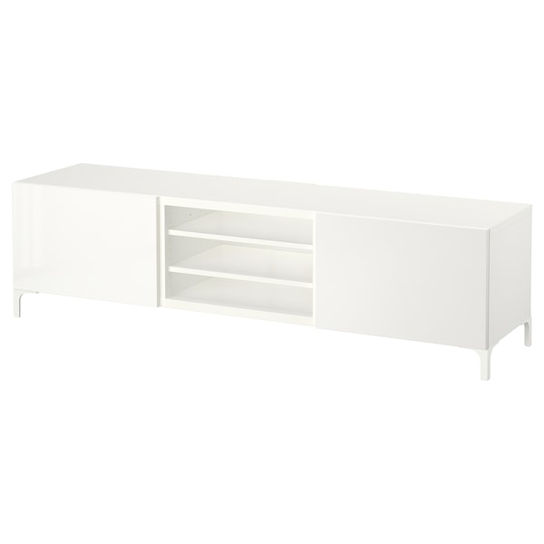 "BESTÅ TV unit with drawers white/Selsviken high-gloss/white 70 7/8 "" 15 3/4 "" 18 7/8 "" 110 lb"