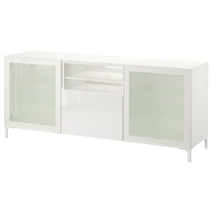 Color: White/selsviken high-gloss/white frosted glass.