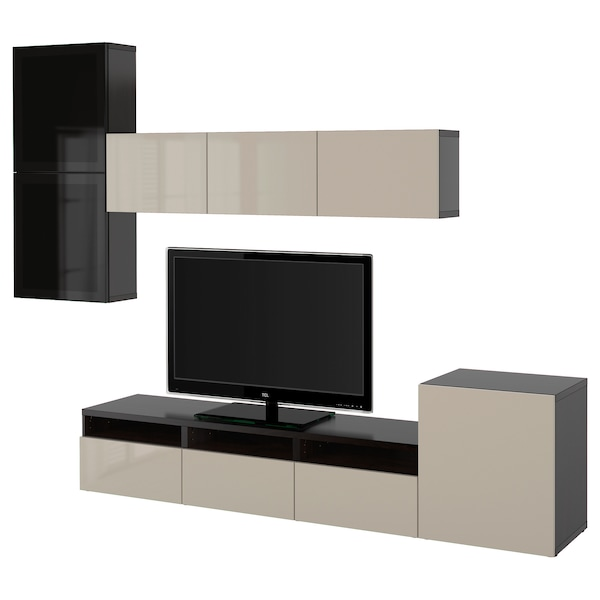 BESTÅ TV storage combination/glass doors, black-brown/Selsviken high gloss/beige smoked glass, 118 1/8x16 1/2x83 1/8 ""