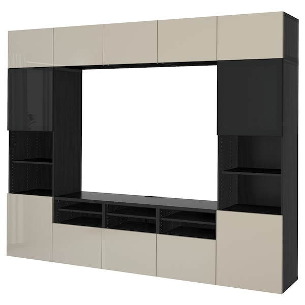 BESTÅ TV storage combination/glass doors, black-brown/Selsviken high gloss/beige smoked glass, 118 1/8x15 3/4x90 1/2 ""