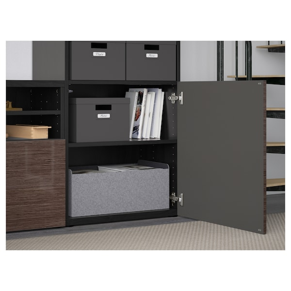 BESTÅ TV storage combination/glass doors, black-brown/Selsviken high gloss/brown clear glass, 118 1/8x15 3/4x90 1/2 ""