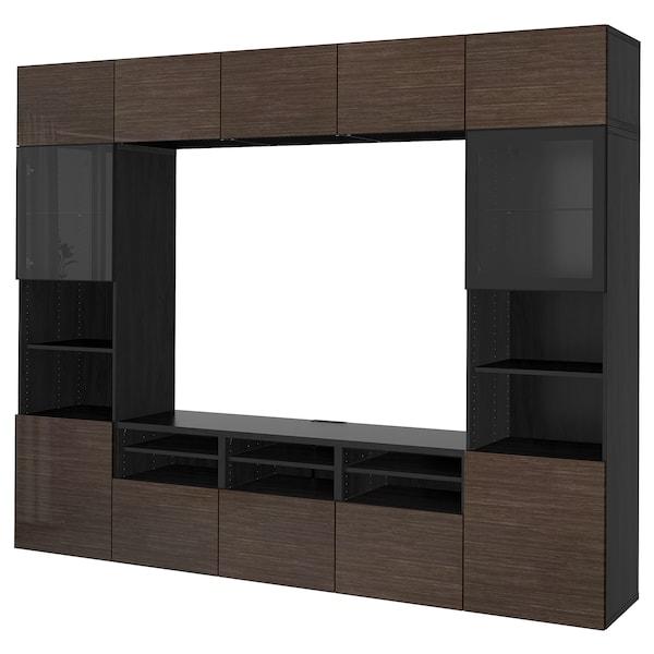 """BESTÅ TV storage combination/glass doors black-brown/Selsviken high gloss/brown clear glass 118 1/8 """" 15 3/4 """" 90 1/2 """""""