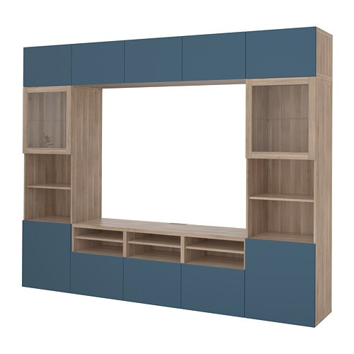 Best Tv Storage Combinationglass Doors Walnut Effect Light Gray