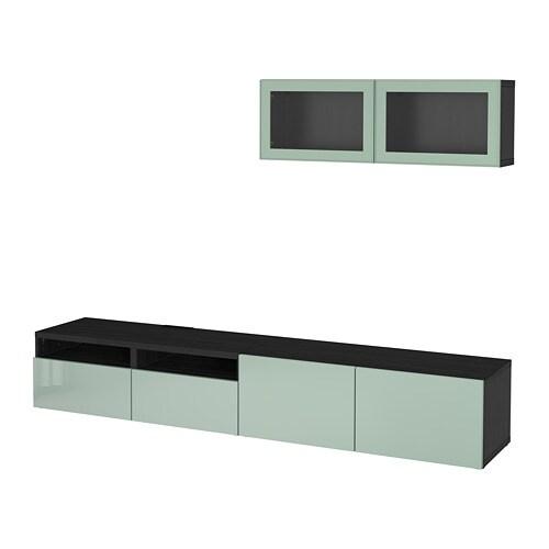 Best Tv Storage Combinationglass Doors Black Brown Selsviken