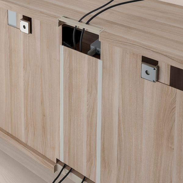 "BESTÅ TV storage combination/glass doors, Lappviken/Sindvik gray stained walnut eff clear glass, 118 1/8x15 3/4x90 1/2 """