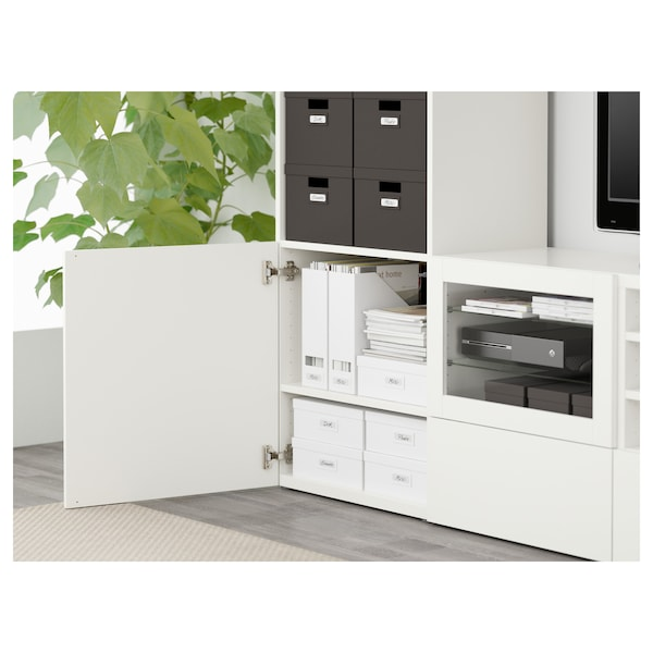"BESTÅ TV storage combination/glass doors, Lappviken/Sindvik white clear glass, 94 1/2x15 3/4x90 1/2 """