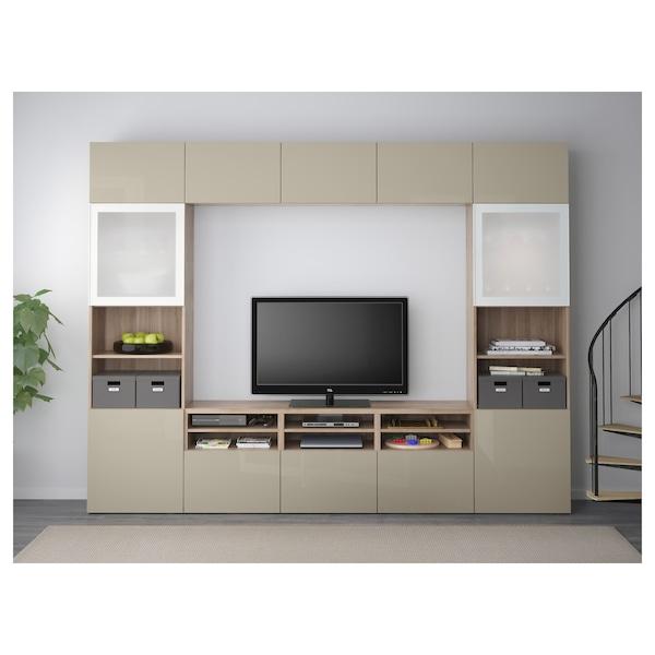 """BESTÅ TV storage combination/glass doors, walnut effect light gray/Selsviken high gloss/beige frosted glass, 118 1/8x15 3/4x90 1/2 """""""
