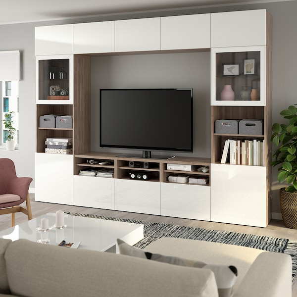 """BESTÅ TV storage combination/glass doors, walnut effect light gray/Selsviken high gloss/white clear glass, 118 1/8x15 3/4x90 1/2 """""""