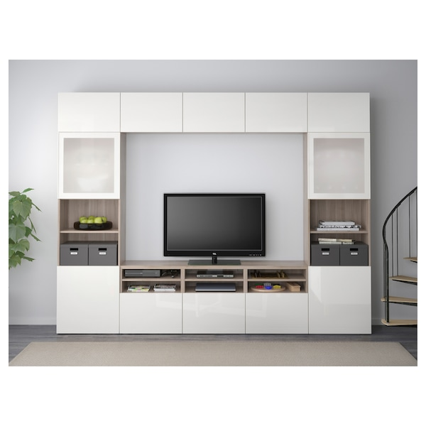 BESTÅ TV storage combination/glass doors, walnut effect light gray/Selsviken high-gloss/white frosted glass, 118 1/8x15 3/4x90 1/2 ""