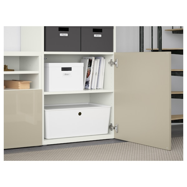 "BESTÅ TV storage combination/glass doors, white/Selsviken high gloss/beige frosted glass, 118 1/8x15 3/4x90 1/2 """