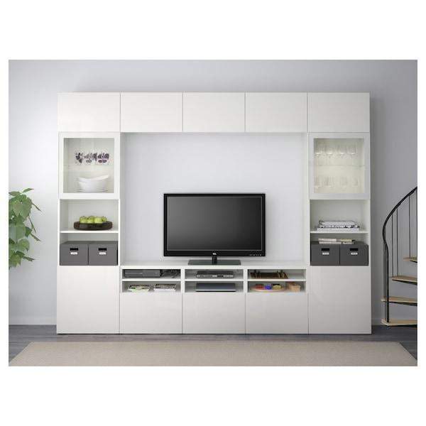 "BESTÅ TV storage combination/glass doors, white/Selsviken high gloss/white clear glass, 118 1/8x15 3/4x90 1/2 """