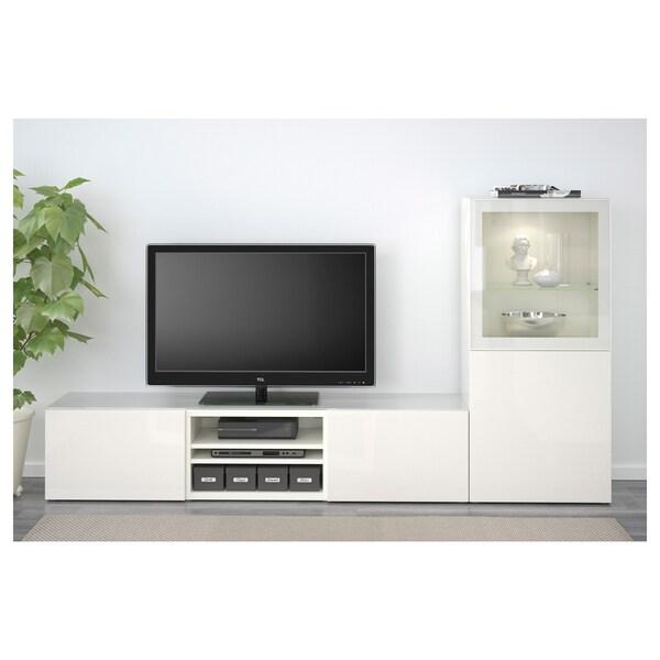 """BESTÅ TV storage combination/glass doors white/Selsviken high gloss/white clear glass 94 1/2 """" 15 3/4 """" 50 3/8 """" 110 lb"""
