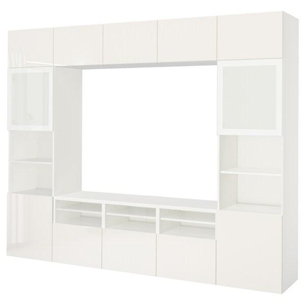 "BESTÅ TV storage combination/glass doors, white/Selsviken high-gloss/white frosted glass, 118 1/8x15 3/4x90 1/2 """
