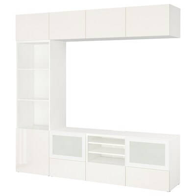 "BESTÅ TV storage combination/glass doors, white/Selsviken high-gloss/white frosted glass, 94 1/2x15 3/4x90 1/2 """