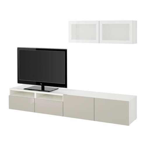 best tv storage combination glass doors white selsviken high gloss beige frosted glass. Black Bedroom Furniture Sets. Home Design Ideas