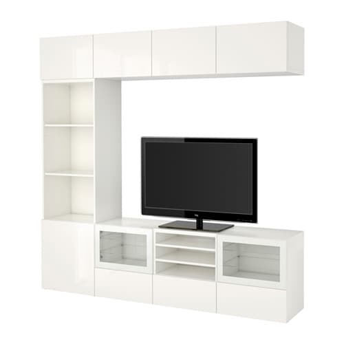best tv storage combination glass doors white selsviken high gloss white clear glass drawer. Black Bedroom Furniture Sets. Home Design Ideas