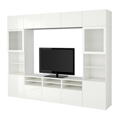 Best tv storage combination glass doors white selsviken high gloss white frosted glass - Ikea besta structuur ...