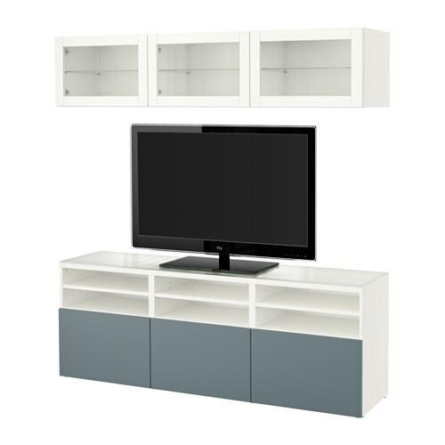 BESTÅ TV storage combination/glass doors - white/Valviken ...