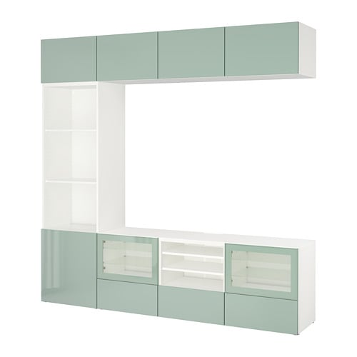 best tv storage combination glass doors white selsviken high gloss light gray green clear. Black Bedroom Furniture Sets. Home Design Ideas