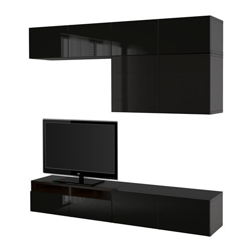 Best tv storage combination glass doors black brown for Ikea meuble mural besta