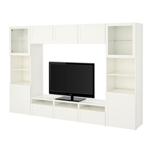 best tv storage combination glass doors hanviken sindvik white clear glass drawer runner. Black Bedroom Furniture Sets. Home Design Ideas