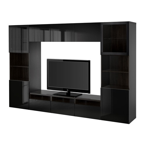 Best tv storage combination glass doors black brown for Meuble 5 cases ikea