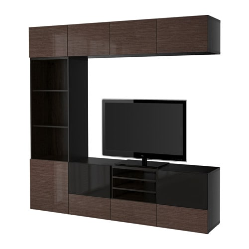 best tv storage combination glass doors black brown selsviken high gloss brown smoked glass. Black Bedroom Furniture Sets. Home Design Ideas