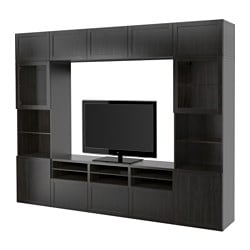 BESTÅ TV storage combination/glass doors, Hanviken, Sindvik black-brown clear glass
