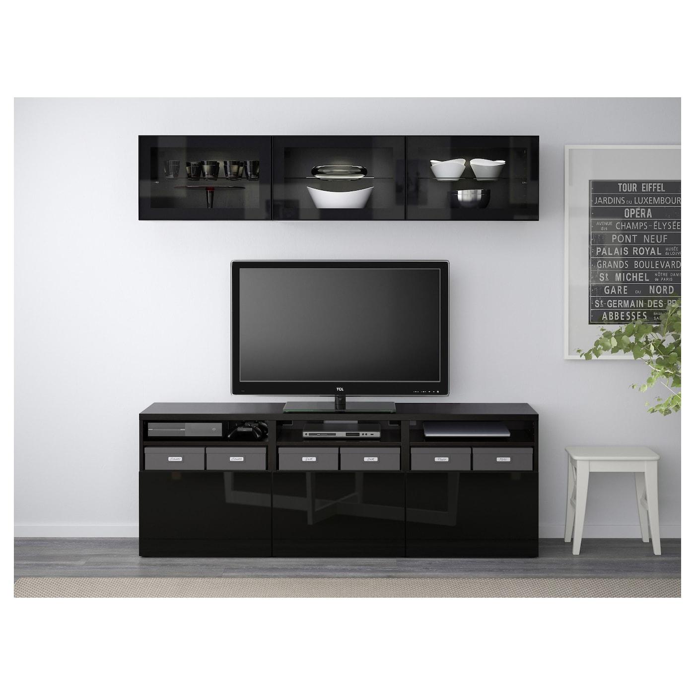 BESTÅ TV storage combination/glass doors, white, Selsviken high gloss/beige  clear glass