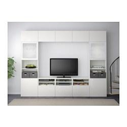 Besta Tv Storage Combination Glass Doors White Selsviken High Gloss White Frosted Glass