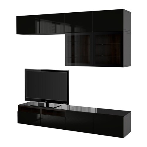 best tv storage combination glass doors black brown selsviken high gloss black clear glass. Black Bedroom Furniture Sets. Home Design Ideas